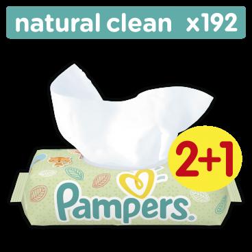 Μωρομάντηλα Pampers Baby Wipes Natural Clean 192 Τμχ. Οικονομική Συσκευασία 2+1 Δώρο