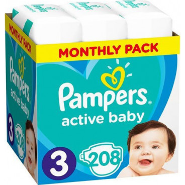Πάνες Pampers Active Baby No 3, 6-10kg, Monthly Pack, 208 Τεμάχια