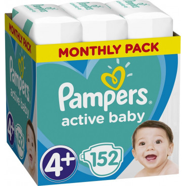 Πάνες Pampers Active Baby No 4+, 10-15kg, Monthly Pack, 152 Τεμάχια