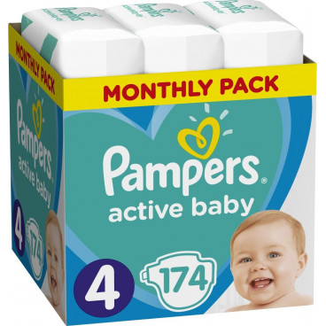 Πάνες Pampers Active Baby No 4, 9-14kg, Monthly Pack, 174 Τεμάχια