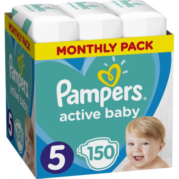 Πάνες Pampers Active Baby No 5, 11-16kg, Monthly Pack, 150 Τεμάχια