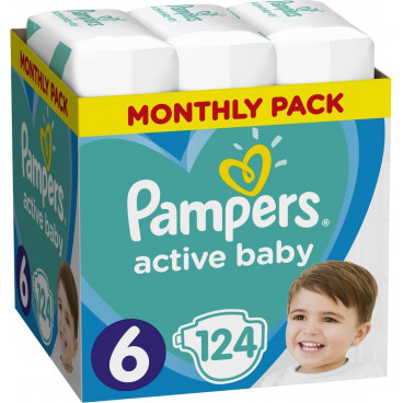 Πάνες Pampers Active Baby No 6, 13-18kg, Monthly Pack, 124 Τεμάχια