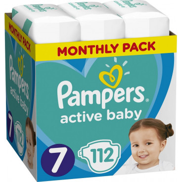 Πάνες Pampers Active Baby No 7, 15+kg, Monthly Pack, 112 Τεμάχια