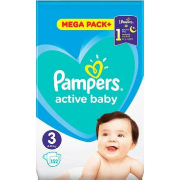 Πάνες Pampers Active Baby No 3, 6-10kg, Mega Pack, 152 Τεμάχια