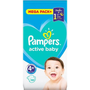 Πάνες Pampers Active Baby No 4+, 10-15kg, Mega Pack, 120 Τεμάχια