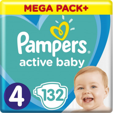 Πάνες Pampers Active Baby No 4, 9-14kg, Mega Pack 132 Τεμάχια