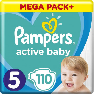 Πάνες Pampers Active Baby No 5, 11-16kg, Mega Pack, 110 Τεμάχια