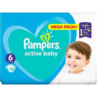 Πάνες Pampers Active Baby No 6, 13-18kg, Mega Pack, 96 Τεμάχια