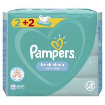 Μωρομάντηλα Pampers Baby Wipes Fresh Clean 208 Τμχ. Οικονομική Συσκευασία 2+2 Δώρο 81688047