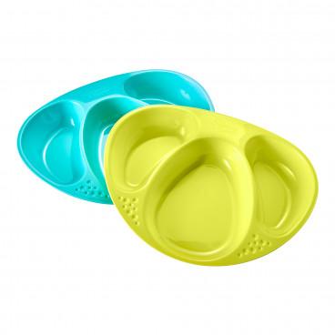 Tommee Tippee Πιάτο Φαγητού 2Τμχ. Blue Green 44027250