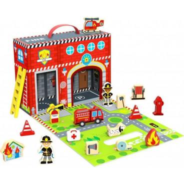 Tooky Toy Ξύλινος Πυροσβεστικός Σταθμός TY203 6970090048111