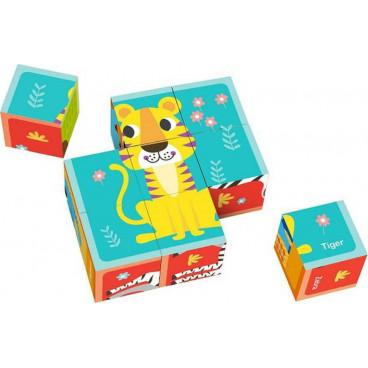 Tooky Toy Ξύλινοι Κύβοι TL690 Πάζλ Με Ζώα 15Τμχ 6972633370000