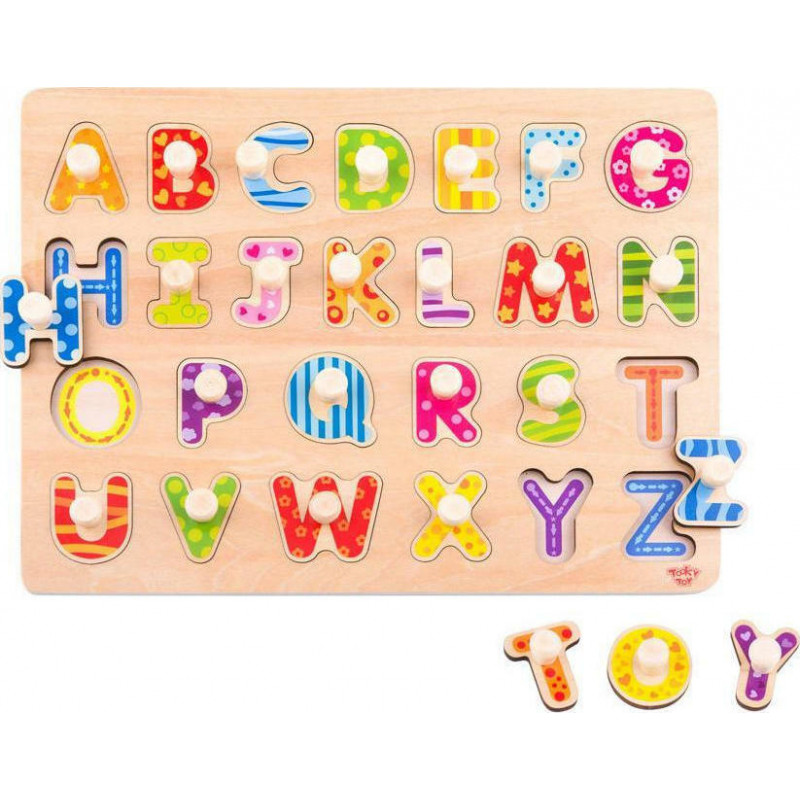 Tooky Toy Ξύλινο Πάζλ TY852 Γράμματα 24Τμχ. 6970090043093