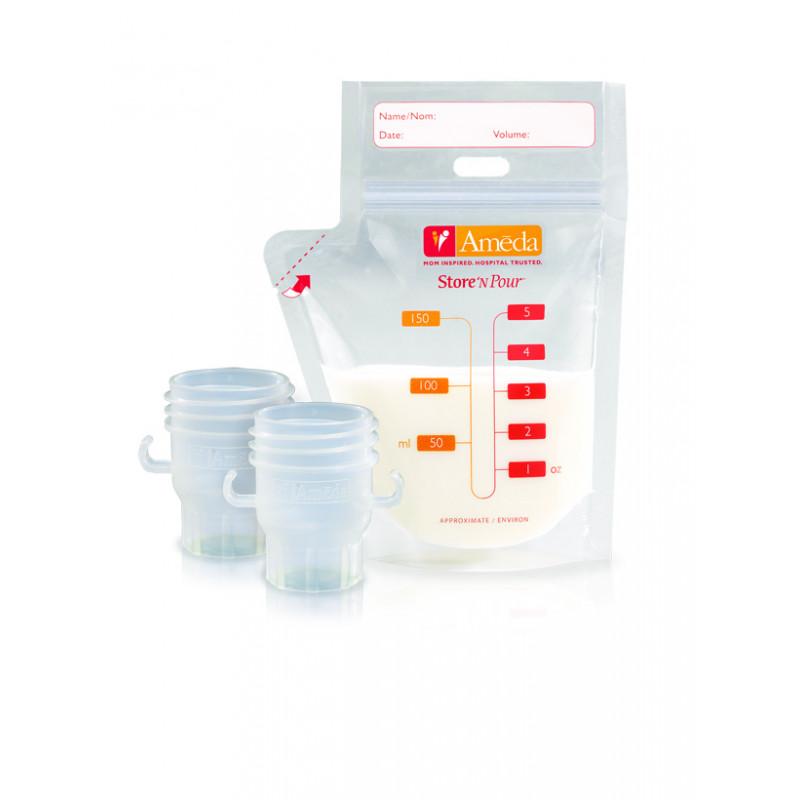 Ameda Σακουλάκι Αποθήκευσης Γάλατος Store 'N Pour (20 τεμ.) Και Συνδετικό (2 τεμ.)