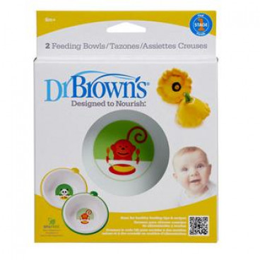 Dr Brown Μπολ φαγητού 730 Σετ 2 τμχ. Πράσινο-Κίτρινο